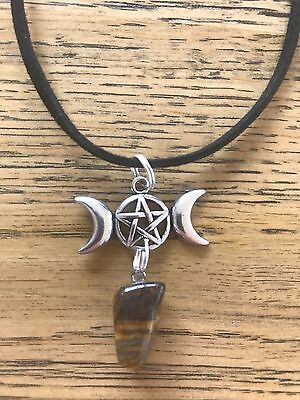 Tiger's eye stone with pentagram wiccan pagan ritual necklace