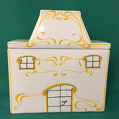 Ceramic Mancer Italy Cookie Jar Canister Cottage House White Yellow
