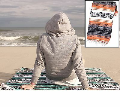"""Authentic Mexican Falsa Blanket Hand Woven Mat Bed Blanket Yoga 76""""x53""""Orange"""