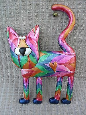 Colorful Whimsical Painted Resin Hanging Wall Decor Kitty Cat~Adorable!