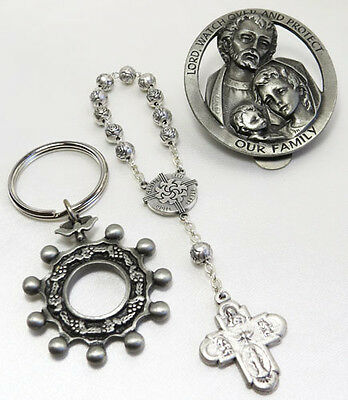 Rosary Decade, Rosary Key Ring & Holy Family Car Visor Clip