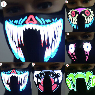Luminous LED Flashing Face Mask Party Masks Light Up Dance Halloween Cosplay