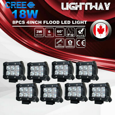 8X 4inch CREE LED Work Light Bar 18W Flood 4x4 Offroad Driving Lamp SUV 12V 24V