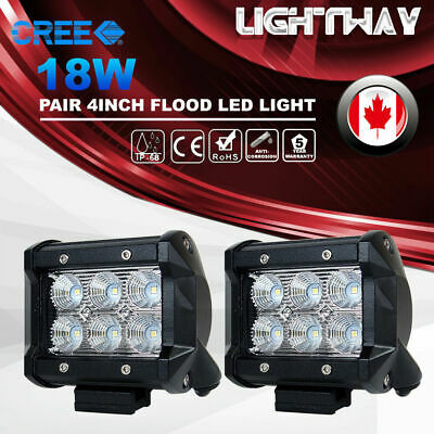 2X 4inch 18W CREE Flood LED Work Light Bar Offroad 4WD ATV SUV Driving Fog Lamp