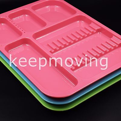 Dental Separate Divided Tray Plastic Autoclavable 135°C +10 Drilled Hole 5 Color