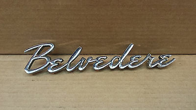 Vintage Original Plymouth Belvedere Metal Decal Silver tone Car Ornament 60s