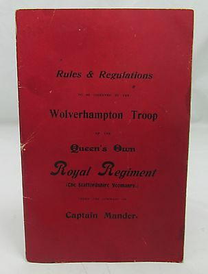 1899 Wolverhampton Troop Queen's Own Royal Regiment Staffordshire Yeomanry Rules