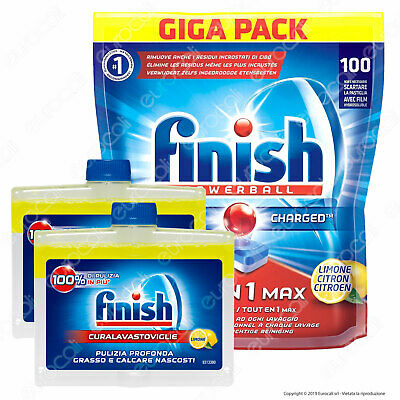 Finish Tutto in Uno Max 100 Lemon+Finish Cura Lavastoviglie Lemon Bundle 2x250ml
