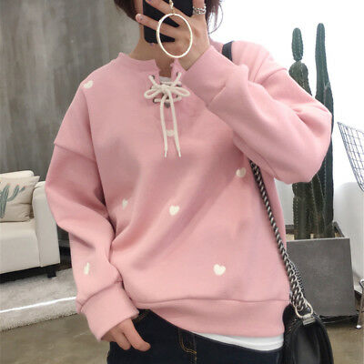 girl Love Heart Embroidered Hoddie Criss Cross Tie Long Sleeve O-Neck Sweater