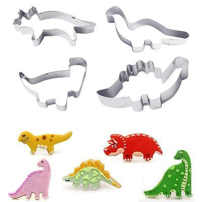 4 Pack of Dinosaurs Biscuit Cookie Mold Cutter Moulds Metal Cutters Boys Party