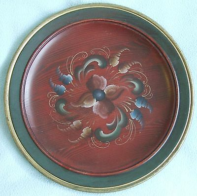 Vintage Norway NORWEGIAN Hand Made Hand Painted FLORAL Wooden Decorative PLATE