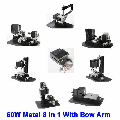 60W High Power Mini Metal 8 In 1 With Bow Arm Lathe DIY Woodworking Power Tools