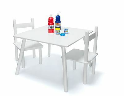 Table and 2 Chairs Set Kids Chidren Craft Drawing Art Wood Furniture White