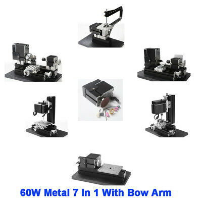 60W High Power Mini Metal 7 In 1 With Bow Arm Lathe DIY Woodworking Power Tools