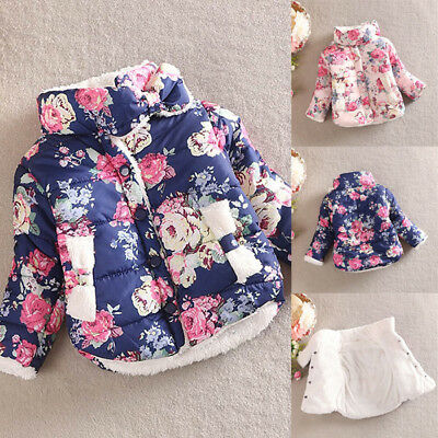 UK 2-6Y Winter Warm Kids Girls Cotton Floral Printed Coat Jacket Thick Outerwear