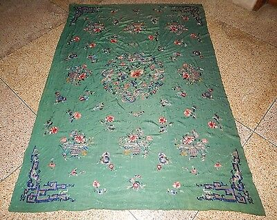 Superb Antique Chinese Silk Hand Embroidered Textile Art Wall Hanging Panel