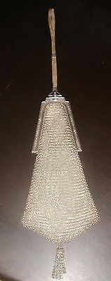 Early 1900's Estate Antique Whiting Davis Jewel Silver Tone Mesh Bag Purse
