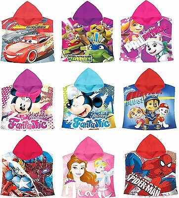 Childrens Towel Hooded Poncho,6 characters,Licensed,Cotton,Large Towel 60x120