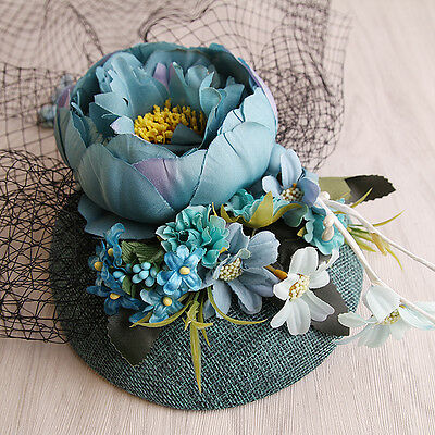 Floral Fascinator Turquoise Sinamay With  Veil - Occasion Wedding Races
