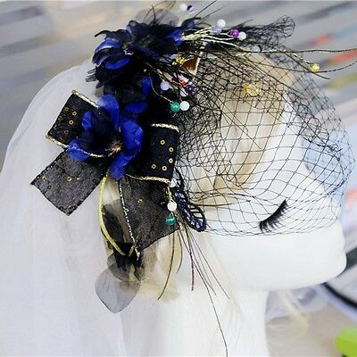 Ivory & Black Floral Fascinator With Birdcage Veil - Occasion Wedding Races