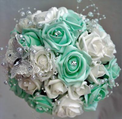 Wedding flowers Package   Mint/ white  Personal listing for panlam_xtnt76