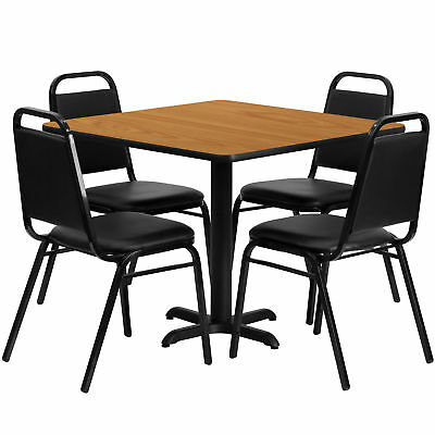 36'' Square Natural Laminate Table Set with 4 Black Trapezoidal Banquet Chairs