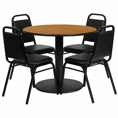 36'' Round Natural Laminate Table Set with 4 Black Trapezoidal Banquet Chairs