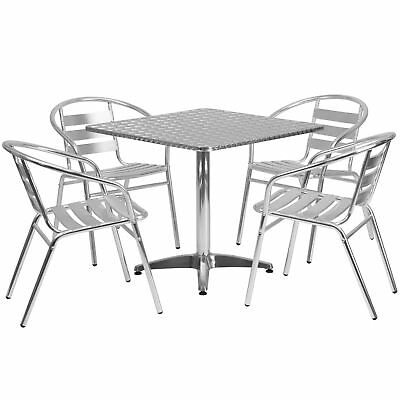 31.5'' Square Aluminum Indoor-Outdoor Table with 4 Slat Back Chairs