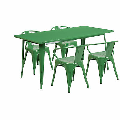 31.5'' x 63'' Rectangular Green Metal Table Set with 4 Arm Chairs