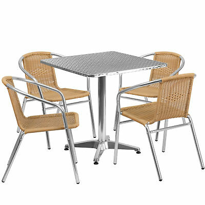 27.5'' Square Aluminum Indoor-Outdoor Table with 4 Beige Rattan Chairs