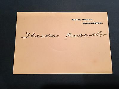 Official White House card boldly hand signed by President Theodore Roosevelt