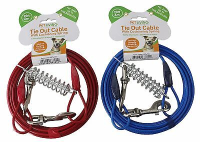 Heavy Duty Tie Out Cable with Cushioning Spring Shock Absorber For Dog  Pet