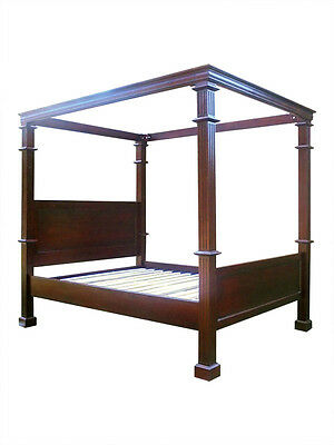 Antique Reproduction Boston Colonial Four 4 Poster Mahogany Bed King Size KS 5ft