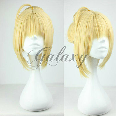 Fate Stay Night Saber Nero Wig Cosplay Parrucca Biondo Blonde Anime