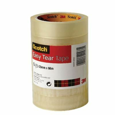 Scotch Clear 25mm x 66m Easy Tear Tape Pack of 6 ET2566T6 [3M41533]