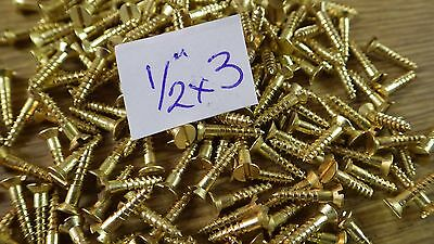 """bag of 50  1/2"""" x 3 solid brass countersunk slotted head wood screws traditional"""