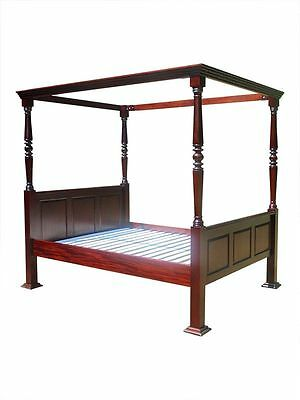 Antique Reproduction Jacobean Four 4 Poster Mahogany Wooden Bed Double 4'6 4ft6