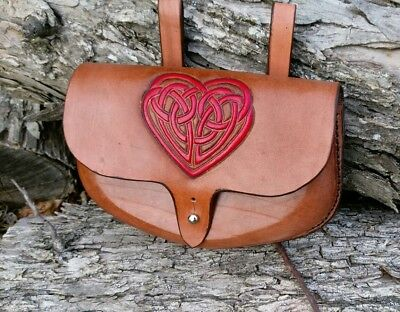 Leather Belt Pouch Large Red Celtic Heart Knot SCA Larp