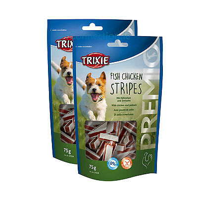 2 x Trixie Fish Chicken Stripes Pollock 75g Dog Treat Training Gluten Free Pack