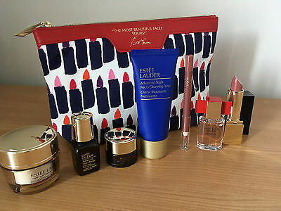 Estee Lauder 7 Piece Gift Set with Vibrant 'lipstick design' Cosmetic Bag New