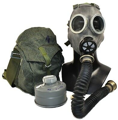 Vintage soviet era army gas mask MC-1 + black hose with filter surplus military