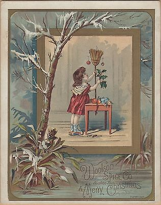 Victorian Trade Card-Lion Coffee-Toledo, OH-Girl Using Broom for Christmas Tree
