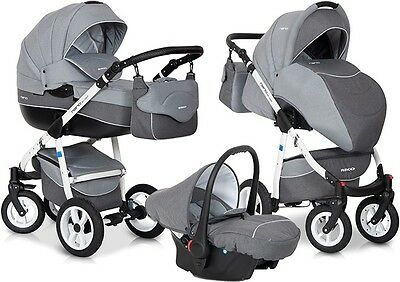RIKO NANO GREY PRAM 3in1 CARRYCOT + PUSH CHAIR + CAR SEAT