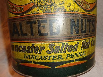 Rare Queen Quality Brand Salted Nuts, Lancaster Pa.Tin General Store Can Antique