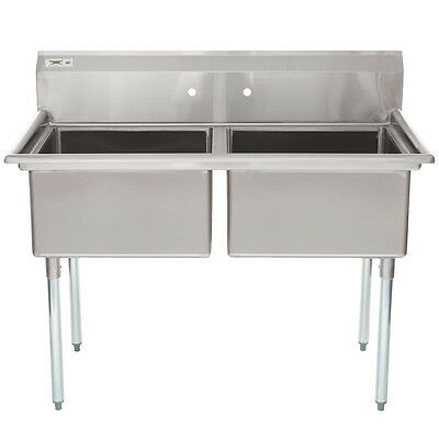 "53"" 2 Compartment Stainless Steel Commercial Restaurant Utility Wash Two Sink"