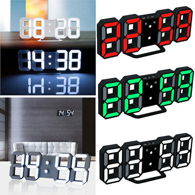 Moderno Digital 3D LED Reloj Clock Pared Watches Hour Display Alarm Snooze Negro