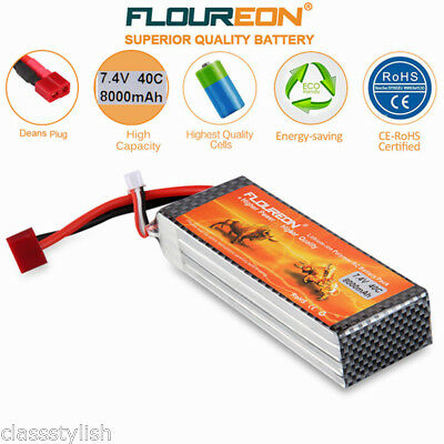 2S2P 7.4V 8000mAh 40C LiPo Battery Pack Deans for RC Car Helicopyer Truggy Truck