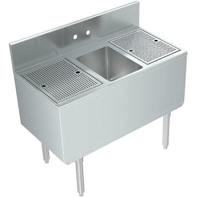 "Stainless Steel 1 Compartment Bar Sink 36"" x 19"" with 2 Drainboards"