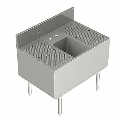 """Stainless Steel 1 Compartment Bar Sink 36"""" x 24"""" with 2 Drainboards"""