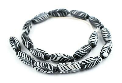 Black Glass Feather Beads 10mm Indonesia Black and White Oval Large Hole